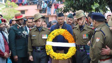 pulwama encounter,पुलवामा मुठभेड़,शहीद मेजर विभूति शंकर ढ़ौडियाल,मुख्यमंत्री त्रिवेंद्र सिंह रावत